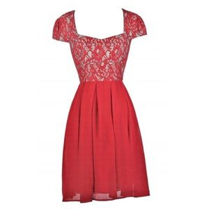 Lily Boutique lace and chiffon cap sleeve dress